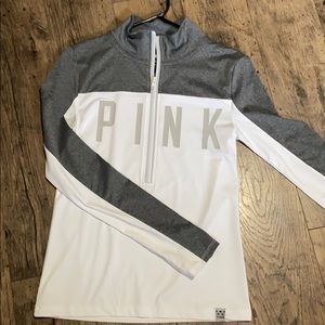 white and grey PINK quarter zip